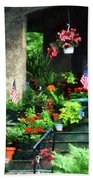 Porch With Geraniums And American Flags Beach Towel