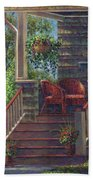 Porch With Red Wicker Chairs Beach Towel