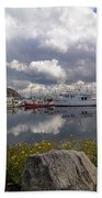 Port Of Anacortes Marina On A Cloudy Day Beach Towel