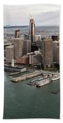 Port Of San Francisco And Downtown Financial Districtport Of San Francisco And Downtown Financial Di Beach Towel