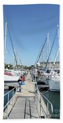 Port With Yacht  Beach Towel