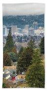 Portland City Skyline From Mount Tabor Beach Towel