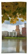 Portland City Skyline Under Fall Foliage Beach Sheet