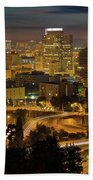 Portland Downtown Cityscape And Freeway At Night Beach Towel