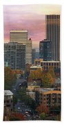 Portland Downtown Cityscape During Sunrise In Fall Beach Sheet