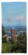 Portland Downtown Cityscape With Mount Saint Helens View Beach Towel