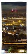 Portland Fremont Bridge Light Trails At Night Beach Towel