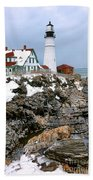 Portland Head Light In Winter Beach Towel