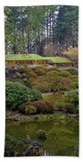Portland Japanese Garden By The Lake Beach Towel