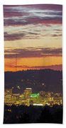 Portland Oregon City Skyline Sunset Panorama Beach Towel