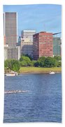 Portland Oregon Skyline And Rowing Boats. Beach Towel