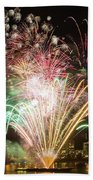 Portland Waterfront 4th Of July Fireworks Beach Towel