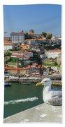 Porto Skyline Seagull Beach Towel