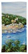Portofino Majestic Panoramic View Beach Towel by Marilyn Dunlap