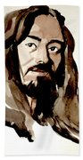 Watercolor Portrait Of A Man With Long Hair Beach Sheet