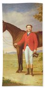 Portrait Of A Gentleman With His Horse Beach Towel