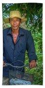 Portrait Of A Khmer Rice Farmer - Cambodia Beach Towel