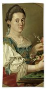 Portrait Of A Lady With A Flower Basket Beach Sheet