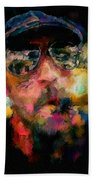 Portrait Of A Man In Sunglass Smoking A Cigar In The Sunshine Wearing A Hat And Riding A Motorcycle In Pink Green Yellow Black Blue Oil Paint With Raking Light To Pick Up Paint Texture Beach Sheet