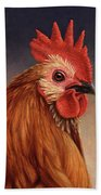 Portrait Of A Rooster Beach Sheet