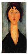 Portrait Of A Young Woman Beach Towel