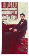 Portrait Of Abraham Lincoln Beach Towel