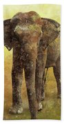 Portrait Of An Elephant Digital Painting With Detailed Texture Beach Towel