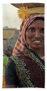 Portrait Of An Indian Lady Beach Towel