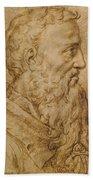 Portrait Of Baccio Bandinelli In Profile To The Right Beach Sheet