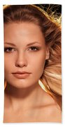 Portrait Of Beautiful Woman Face With Glowing Golden Blond Hair Beach Towel