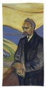 Portrait Of Friedrich Nietzsche Beach Towel