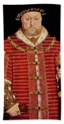Portrait Of Henry Viii Beach Towel by Hans Holbein the Younger