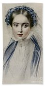 Portrait Of Her Majesty Queen Victoria As A Young Woman By Emile Desmaisons Beach Towel