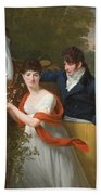 Portrait Of Jean-louis Gustave D'hautefort And His Sister Marie-therese-thais D'hautefort Beach Towel