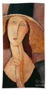 Portrait Of Jeanne Hebuterne In A Large Hat Beach Towel by Amedeo Modigliani