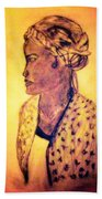 Portrait Of Lovely African Woman Beach Towel