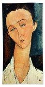 Portrait Of Lunia Czechowska Beach Towel by Amedeo Modigliani