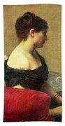 Portrait Of Madame Maitre Beach Towel by Ignace Henri Jean Fantin Latour