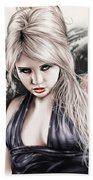 Portrait Of Miss Mosh Beach Towel by Pete Tapang