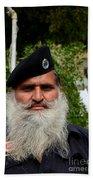 Portrait Of Pakistani Security Guard With Flowing White Beard Karachi Pakistan Beach Towel