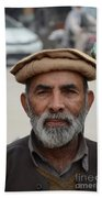 Portrait Of Pathan Tuk Tuk Rickshaw Driver Peshawar Pakistan Beach Towel