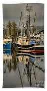 Portrait Of The Ucluelet Trawlers Beach Towel
