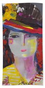 Portrait Of Woman With Vintage Hat Beach Towel