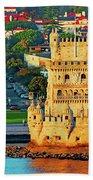 Lisbon Belem Tower From The River Beach Towel