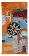 Postcard From Santorini Beach Towel