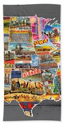 Postcards Of The United States Vintage Usa Map On Gray Wood Background Beach Towel