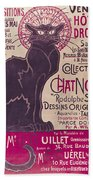 Poster Advertising An Exhibition Of The Collection Du Chat Noir Cabaret Beach Towel