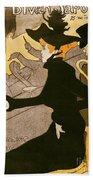 Poster Advertising Le Divan Japonais Beach Towel by Henri de Toulouse Lautrec