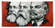 Poster Depicting Karl Marx Friedrich Engels And Lenin Beach Towel