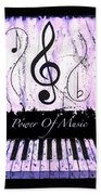 Power Of Music Purple Beach Towel